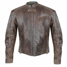 Xelement Mens Brown Armored Leather Motorcycle Jacket With Gun Pocket (S-5XL)