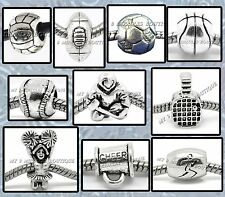 SPORTS Ball Silver Plated BEADS Charms for Bracelet Boy Girl Team Coach Mom Gift