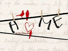 Sweet Home Letters on Clothesline with Red Birds Matted Picture Art Print A712