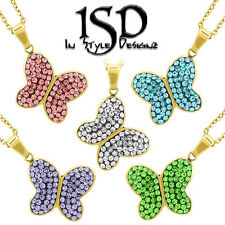 Stainless Steel Womens Swarovski Elements Butterfly Pendant Charm Necklace Chain