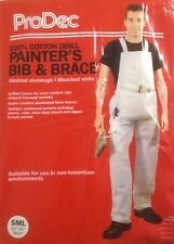 ProDec Painters Bib and Brace Overalls White With Pouch Decorators Coveralls