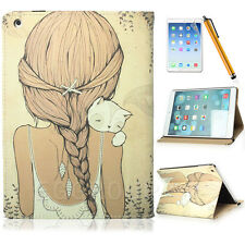 Lovely Pigtail Figure Girl Cat PU Leather Case Cover Stand For Various Tablet PC