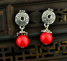 Women lady Bohemian boho Tibet round beads stone dangling Copper Earring Studs
