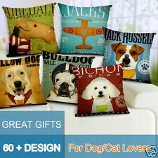 Retro Vintage Dog Cotton Linen Decorative Pillow Cushion Cover, 17.7 x 17.7inch