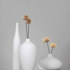 Set of 3 Modern White Porcelain Vase Ceramic Flower Vases Pot Tabletop Floor