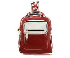 Red Color Women Leather Backpacks,High Quality School Bags,HuaMuMa Shoulder Bag