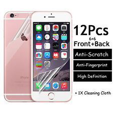12pcs=6xFront+6Back Clear Screen Protector Cover Film For iPhone 7 6 6s Plus 5S