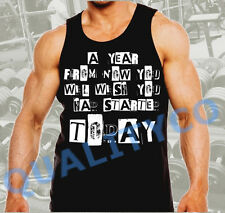 Men's Motivational Workout Quote Gym Bodybuilding Black Muscle Tank Top Beast