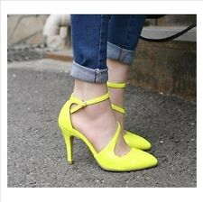 GIFT Vogue Women High Heels Ankle Strap Pointed Toe Hollow out Sandals Shoes
