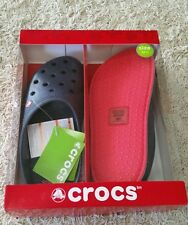 NEW IN BOX! Crocs Mens Lodge Slippers 11 12 NAVY House Shoes $29 ROOMY Clog 2914