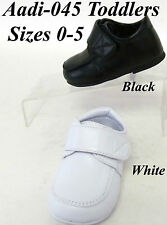 NEW AD045 Toddler Boys Faux Patent Leather Black White velcro strap buckle shoes