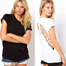 Sexy T-Shirt Women`s Punk Style Hollow Back Wing Cut out Casual Blouse Tops