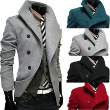 PROMOTION FOR 2015 Mens Single Breasted Pea Coat Outwear Military Jacket SIZE ~L