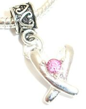 Breast Cancer Awareness Pink Ribbon Charm 6 Choices For European Bracelet 3/$15