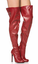 Leatherette Thigh High Stiletto Boots in Red