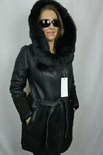 New Black 100% Sheepskin Shearling Leather Suede Toscana Hood Jacket Coat, S-6XL