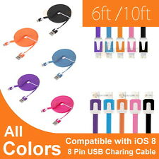 6FT Flat Noodle USB Cable Data Sync Charger Cord for iPhone 6 Plus 5 5S 5C iPod