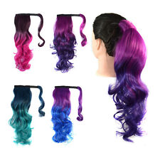 Long Curly Wavy Multicolor Ombre Ponytail Wrap On Pony Tail Hair Extensions 105g