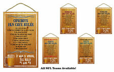 NFL NEW Man Cave Fan Rules Wood Sign / Plaque - CHOOSE YOUR TEAM