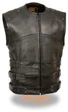 MEN'S MOTORCYCLE UPDATED TACTICAL SWAT STYLE VEST ARMOUR ON BACK BLACK NEW