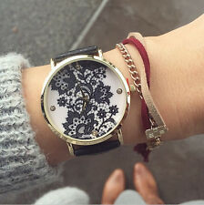 Lace Print Light Women's alloy Leather Strap Band Bracelet Watches White/Black