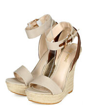 New Women Liliana Spectra-9 Canvas Ankle Strap Espadrille Platform Wedge Sandal