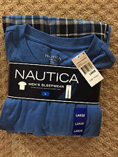 Nautica men's Sleepwear Short Sleeve crew & Flannel Pant