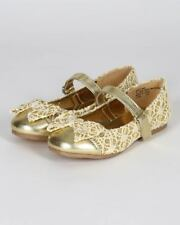 New Girl Little Angel Britt-796D Glitter Metallic Lace Mary Jane Ballerina Flat