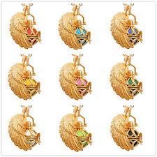 Harmony ball chime pendant+gold angel wing cage &  mexican bola chain for women