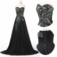 CHEAP~ Peacock Long Prom Evening Ball Gown Masquerade Cocktail Homecoming Dress