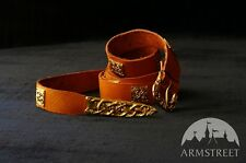 """Medieval Accessories , Leather Belt With Molded Accents """"Birka"""" Casting"""