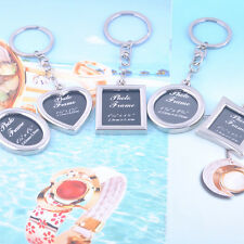 Heart  Shaped Insert Photo Picture Frame Keyring Alloy Keychain Split Ring