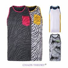 Mens Unisex Pocket 93 Neon Tank Top Animal Print Style T-Shirt Summer Vest S-Xl