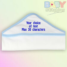 Your Choice Of Text Personalised Embroidered Blue Trim Hooded Towel Baby Boy
