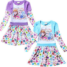Kids Grils Clothing Frozen Anne Elsa Tops Long Sleeve Dress Shirts 3-10 Years