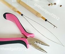Feather Hair Extension Plier Tool KIT for Micro Beads Loop/Hook/Pink 3 Hole..USA