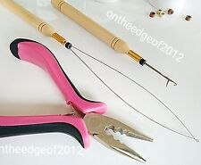 Feather Hair Extension Pliers Tool KIT for Micro Beads Loop/Hook/Pink 3 Hole.USA