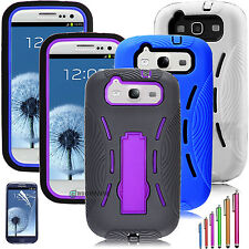Rugged Hybrid Impact stand Matte Case Cover For Samsung Galaxy S3 S III i9300