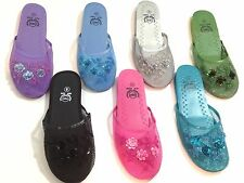"""Buy 5 + Get 1 Free"" Chinese Mesh Floral Sequins Slippers SIZE 5-11 Multi Colors"