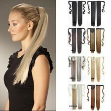 "22"" Clip In Straight Ponytail Synthetic Fiber Hair Extension Wrap On Hair Piece"