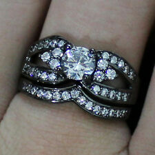 Size 6,7,8,9,10 Deluxe Ladys 18K Black Gold Filled White Sapphire Ring Set HOT