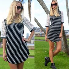 NAUTICAL MURA BOUTIQUE BLACK WHITE STRIPED LACE SLEEVES SHIFT DRESS 8 10 12 14