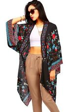 Trendy Women's Floral Robe Long Casual Kimono Black Flowy Cardigan S/M & M/L