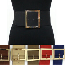classy Women Elastic Waist Wide Belt Stretch PU Leather Gold Metal Hook Silver