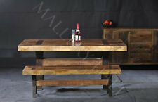 Reclaimed Teak Sheesham  Wood Table And Benches Contemporary Style