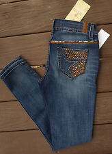 NEW NWT People's Liberation Mid-Rise Skinny Womens Jeans Crystals Rhinestones