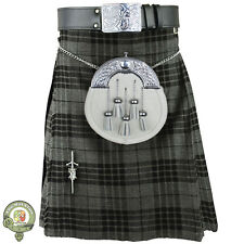 Mens Kilt, 5 Yard Kilts, Highlander Grey Tartan, Scottish Kilt, Casual Kilt, NEW
