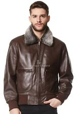 'AIR FORCE' Men's BROWN Fur Collar Aviator BOMBER Real Lamb Skin Leather Jacket