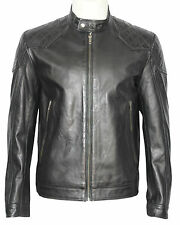 New 3846 Mens BLACK Quilt Retro Biker Style Motorcycle Soft Real Leather Jacket