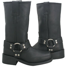 Xelement Ladies Classic Long Harness Black Leather Motorcycle Boots